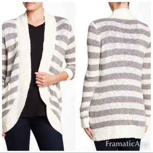 New bobeau striped open front cardigan ivory grey